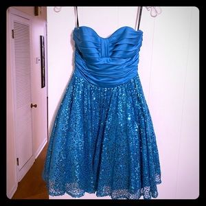 Blue Betsey Johnson strapless sequin dress